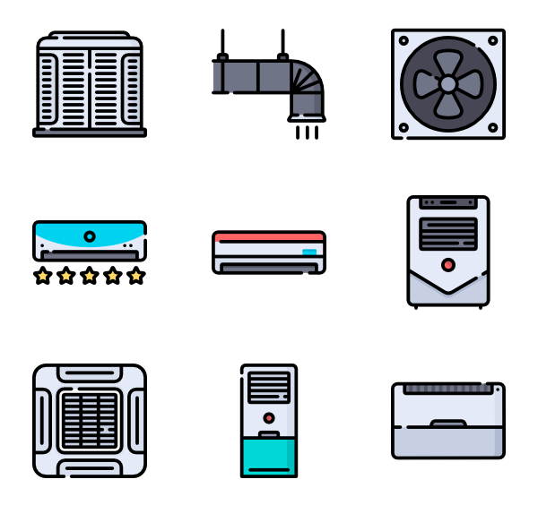 Vector system air conditioning. Icons free conditioner