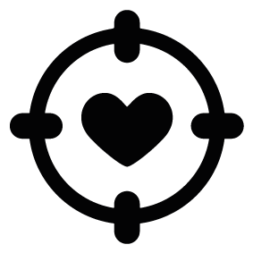 Vector target black and white. Heart silhouette of download