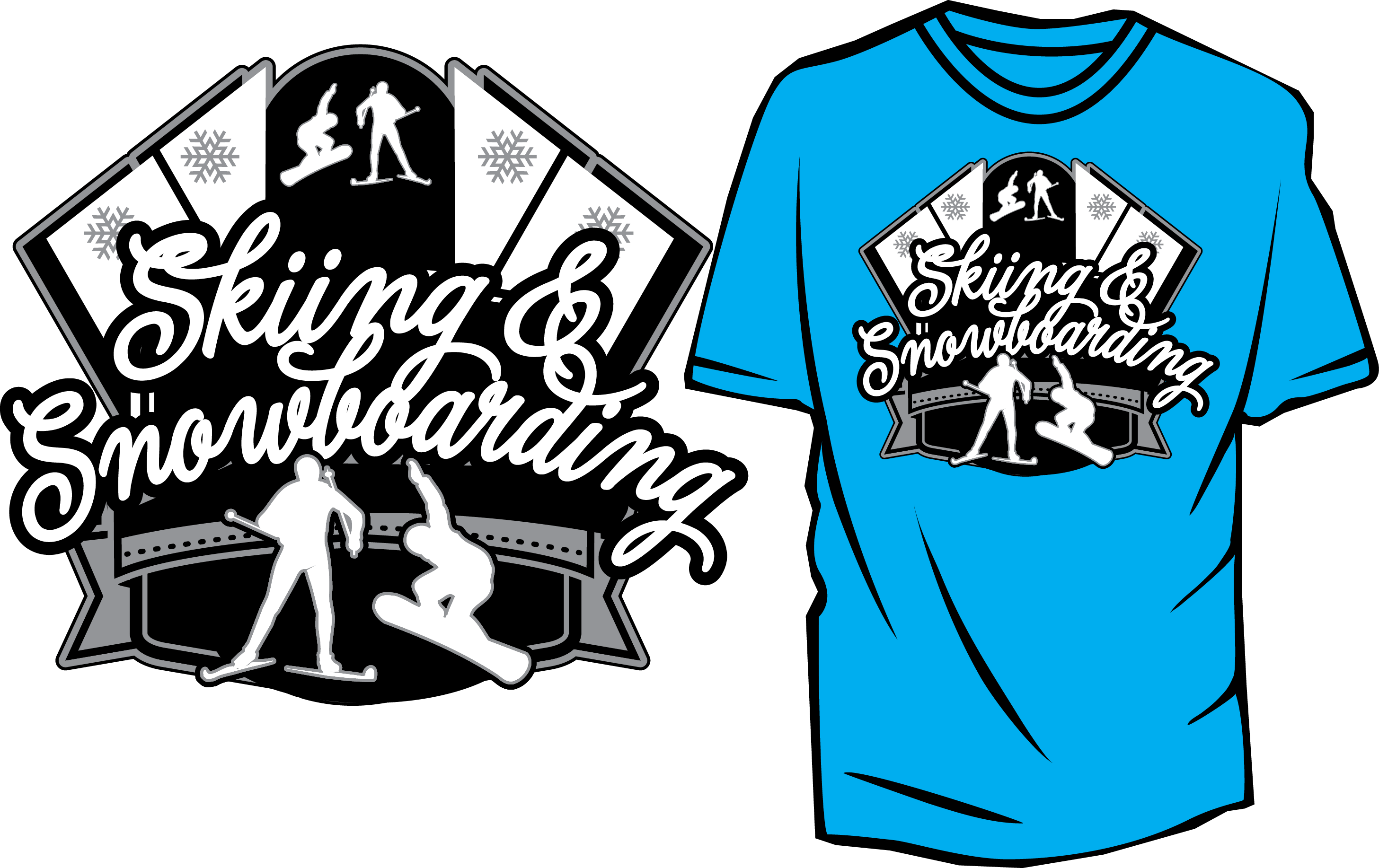Vector tee design. Skiing and snowboarding free