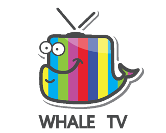 Vector television tv logo design. Whale designed by ivana