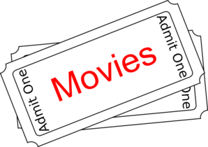 Vector tickets clip art. Movies ticket button at