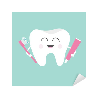 Vector toothbrush cute. Tooth holding toothpaste and