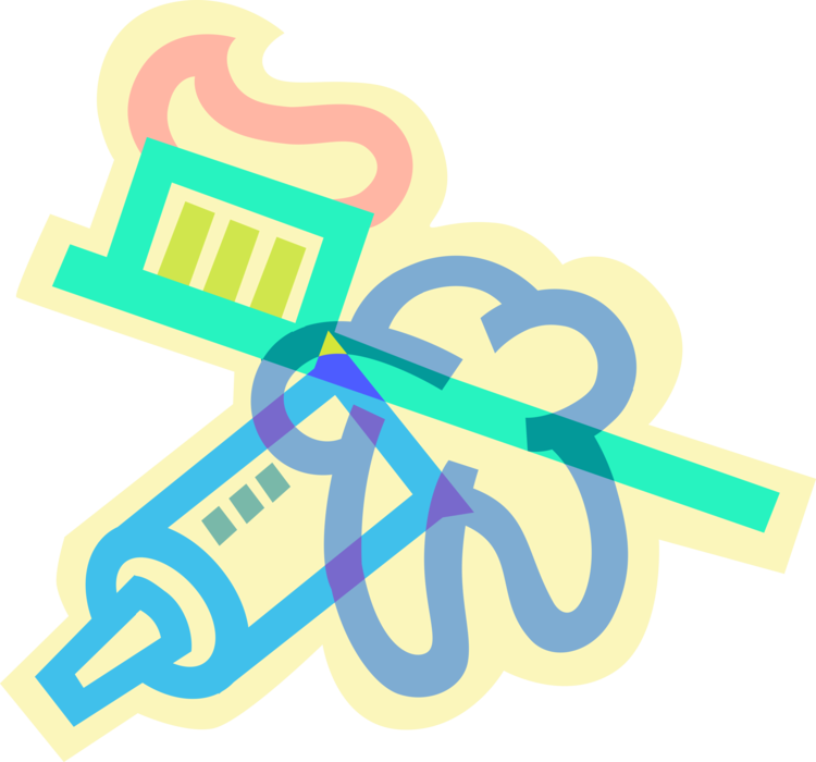 Vector toothbrush design logo. Toothpaste and molar tooth
