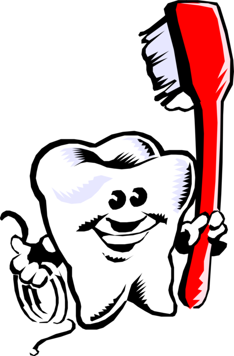 Vector toothbrush happy. Tooth with image illustration