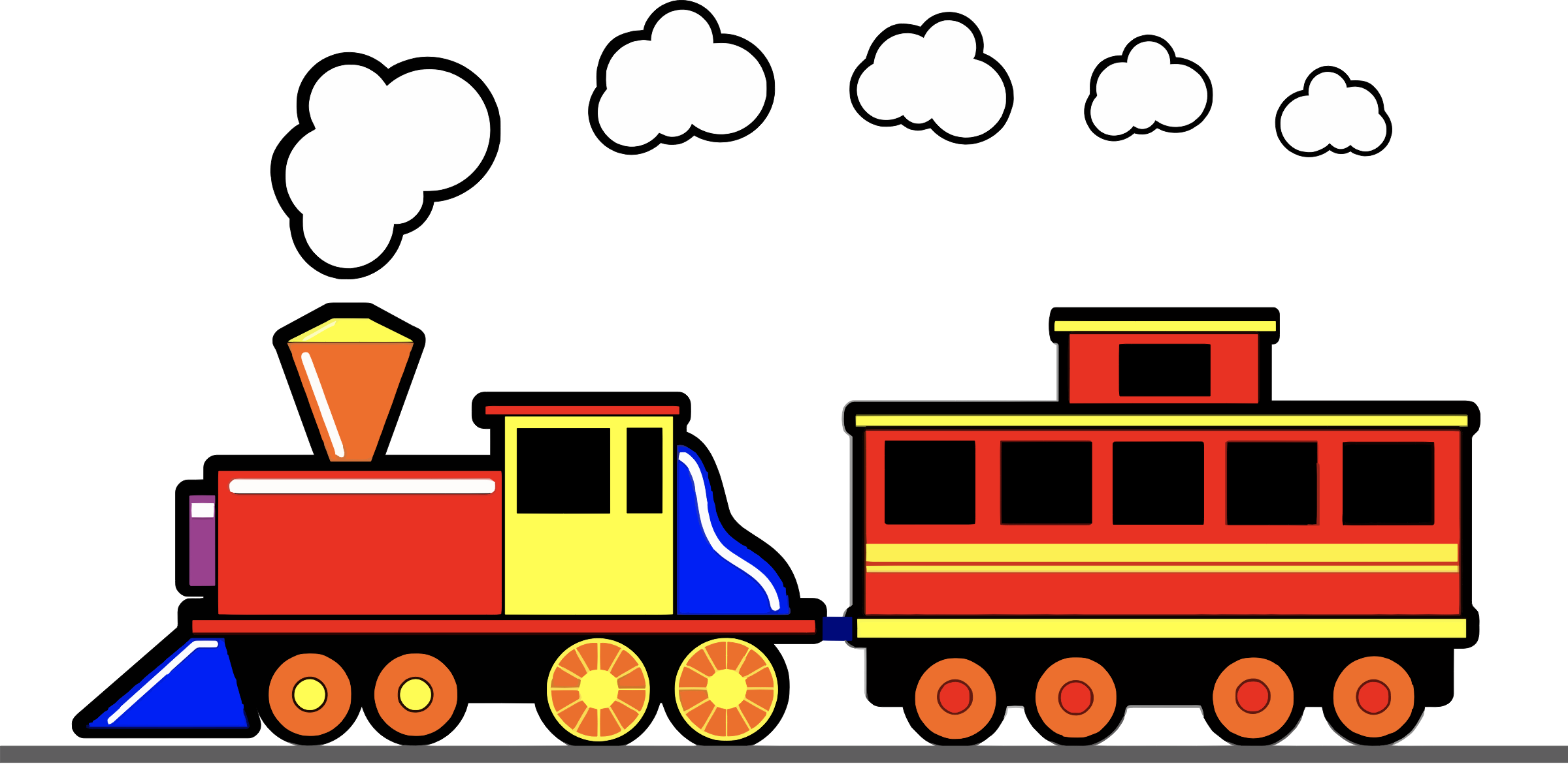 Vector trains cartoon. Train set clipart