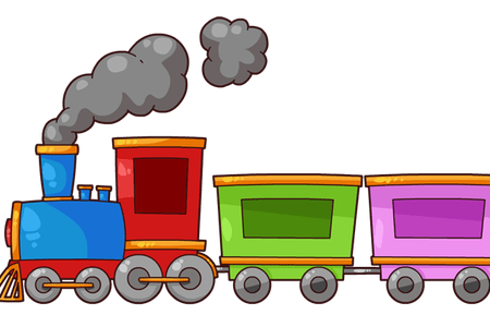 Vector trains cartoon. Old fashioned train k