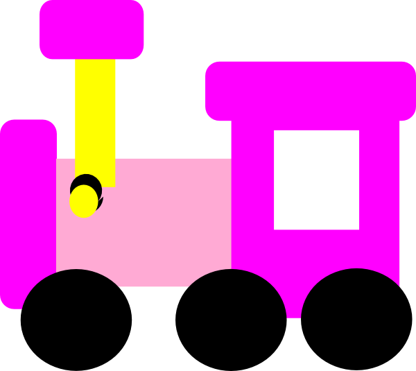 Vector trains cartoon. Pink locomotive train clip
