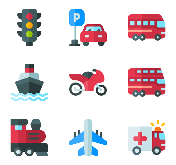 Vector transportation means. Public transport icons free