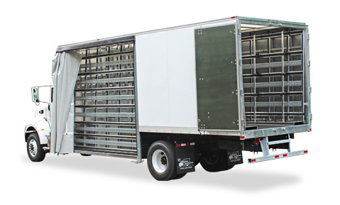 Transportation vector flat bed truck. Best glass racks for