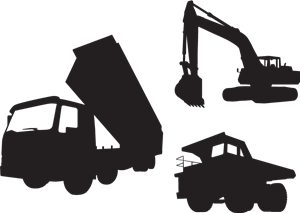 Vector transportation silhouette. Construction vehicle logo ai