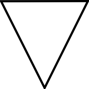 Outline vector triangle. Flipped clip art at