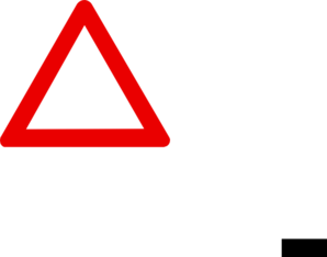 Warning clip art at. Danger clipart blank yield sign black and white