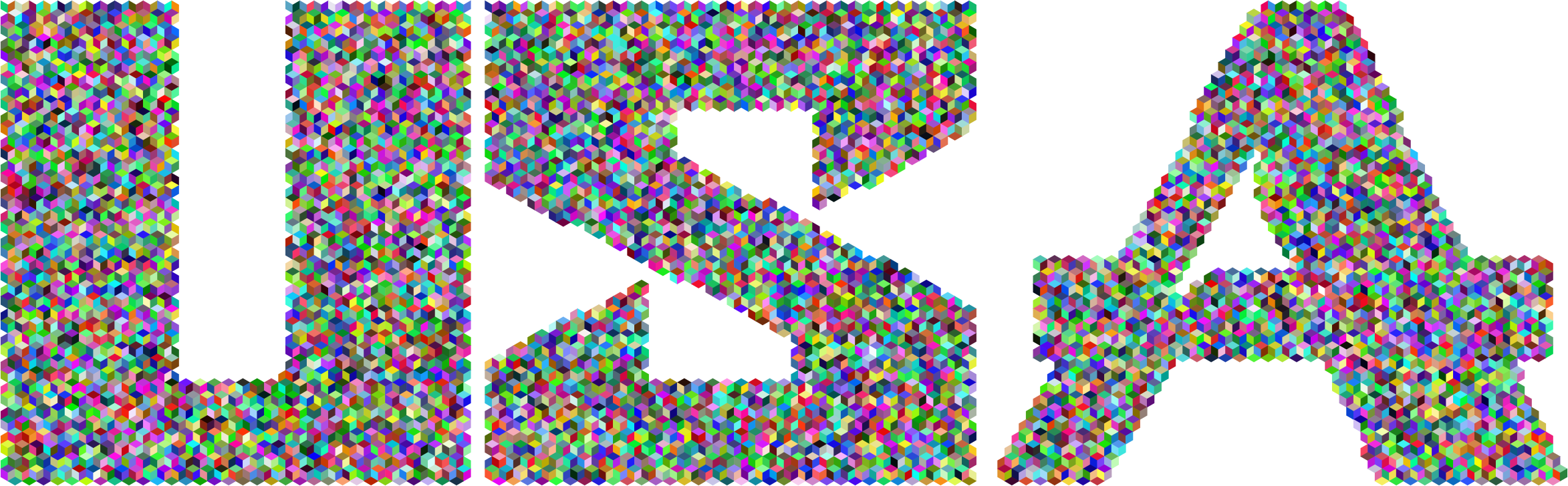 Vector triangles mosaic. Prismatic usa typography mark