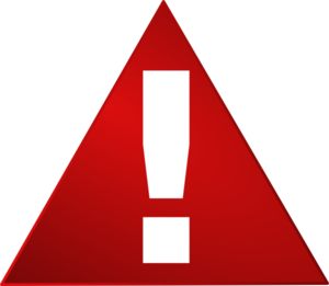 Red warning. Triangle white exclamation mark