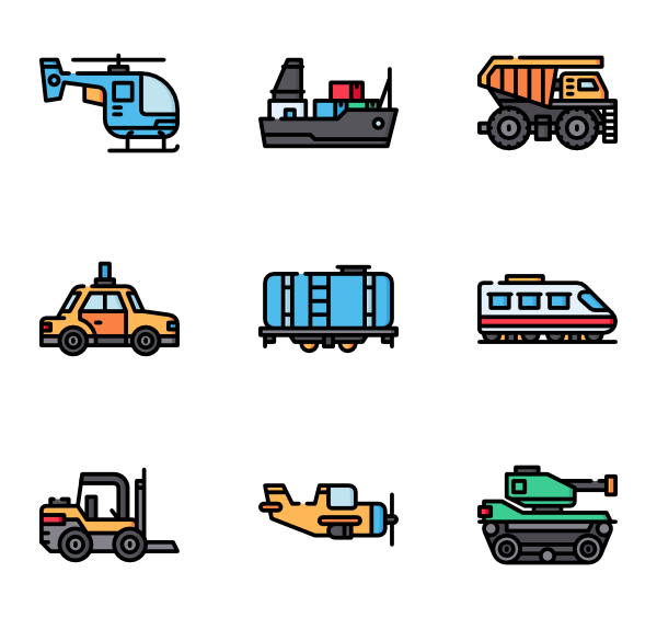 Vector type car body. Vehicle icon packs