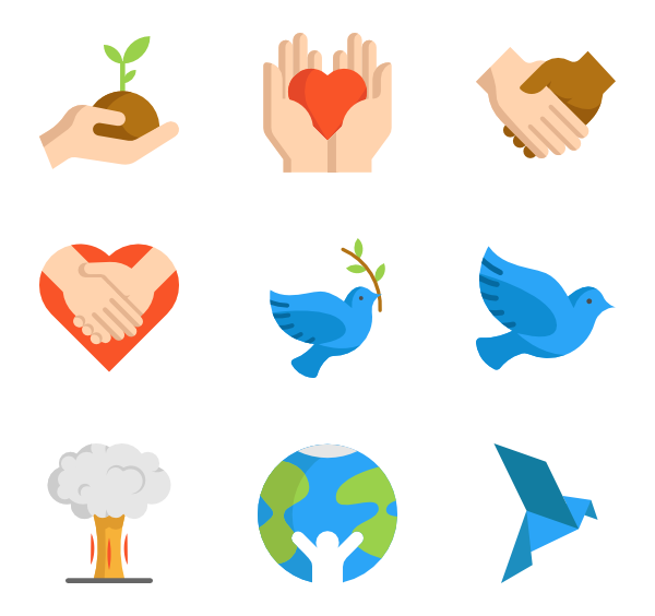Vector type hippie. Icons free peace