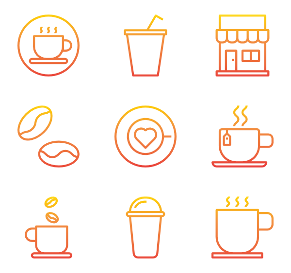 Vector types coffee. Cup icons free