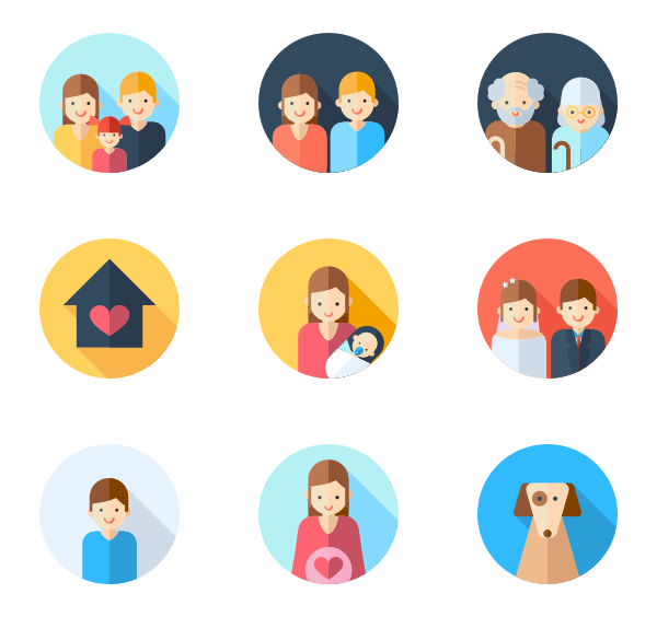 Vector types families. Icon packs for