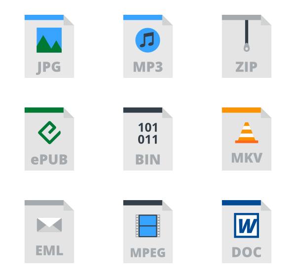 Vector types icons. Type free files