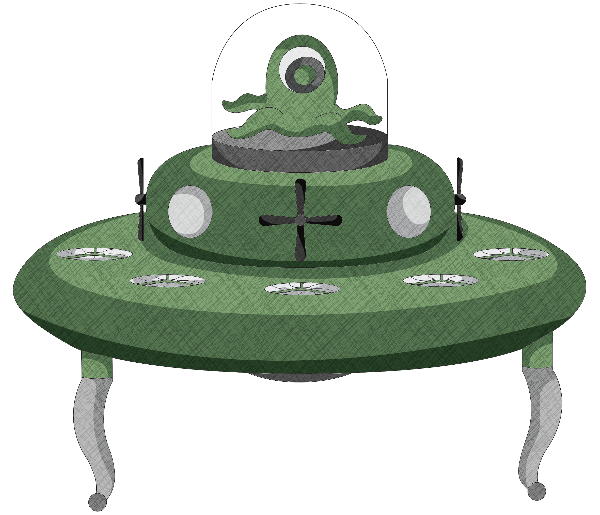 Vector ufo. Alien spaceship art drawing