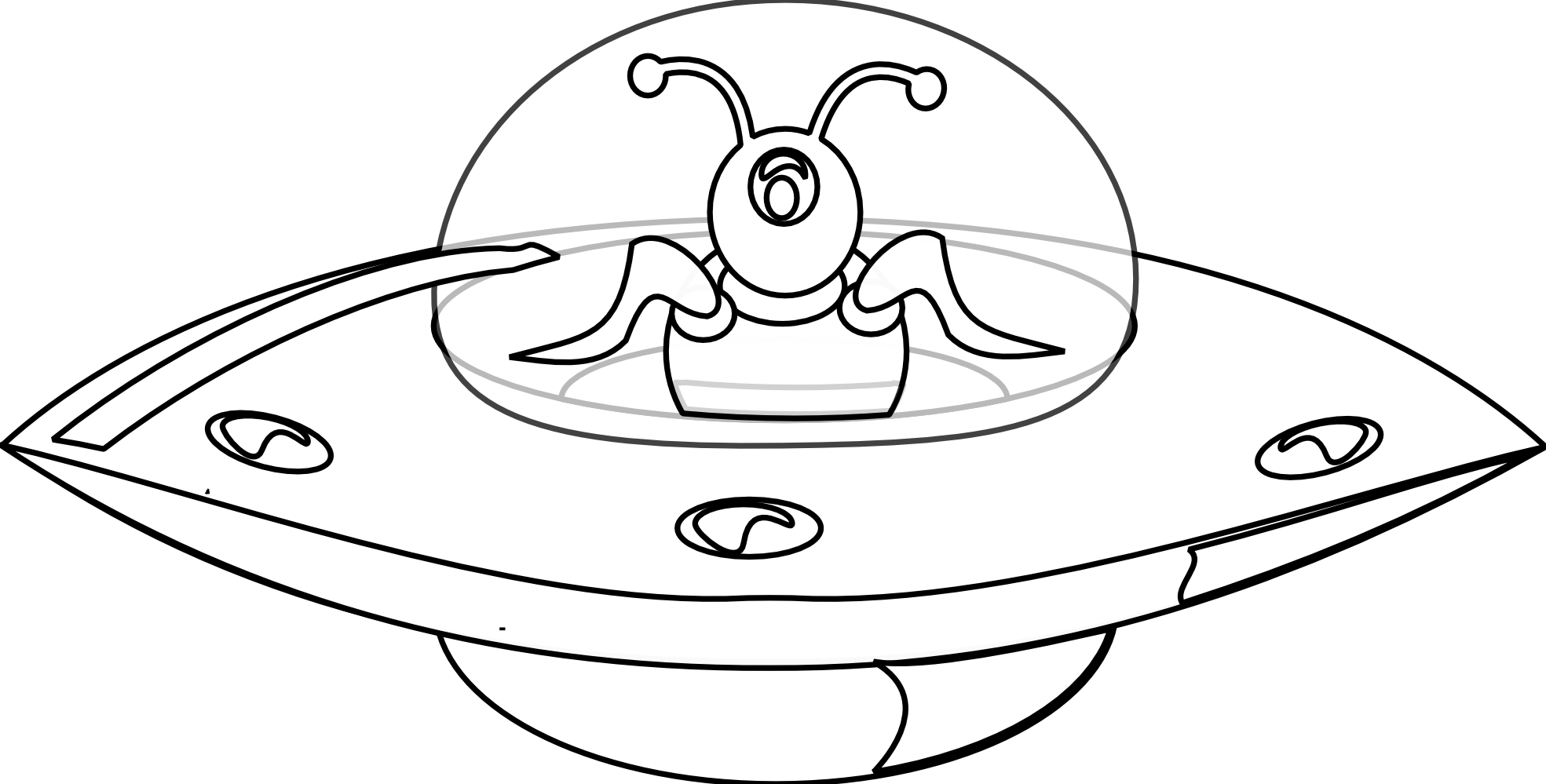 Vector ufo black and white. Collection of clipart