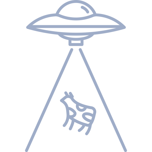 Vector ufo outline. Free library cow