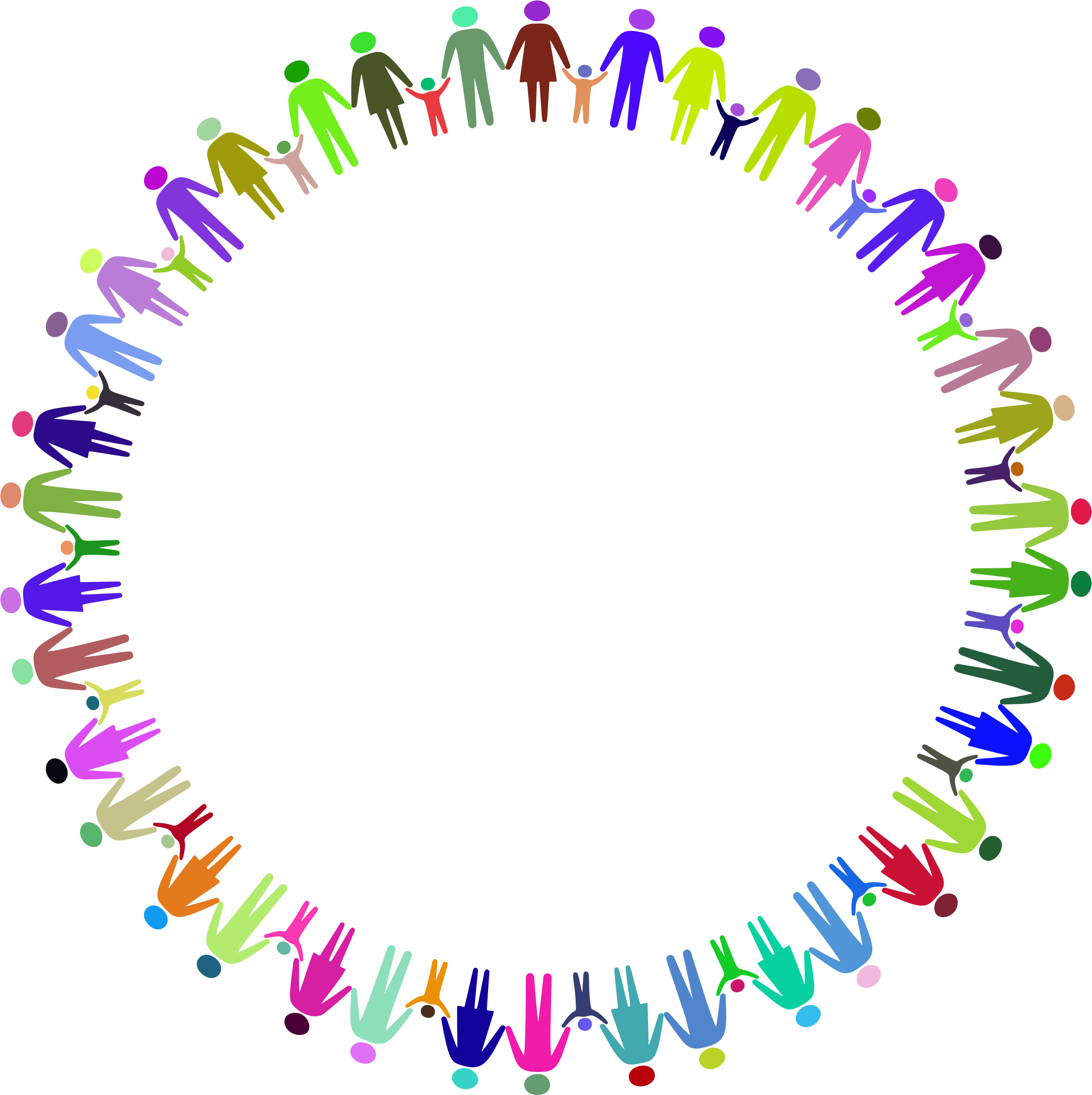 Vector unity holding hands. Circle encode clipart to