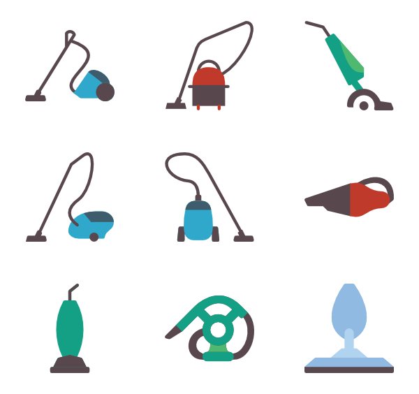 Vector vacuum animated. Icons free cleaners