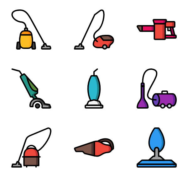 Vector vacuum cleaner. Icons free
