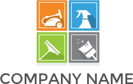 Cleaner with clouds logo. Vector vacuum janitorial vector stock