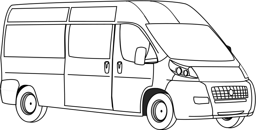 Vector van drawing. Collection of outline