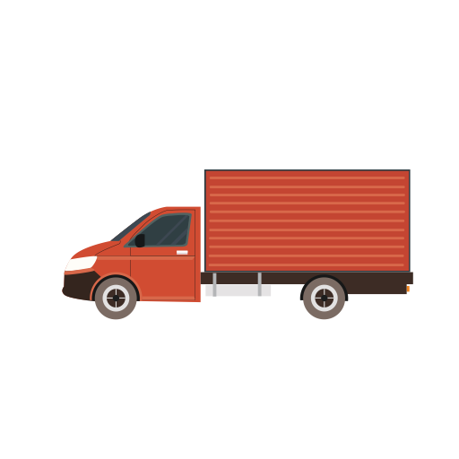 Vector van side view. Red standing icon with