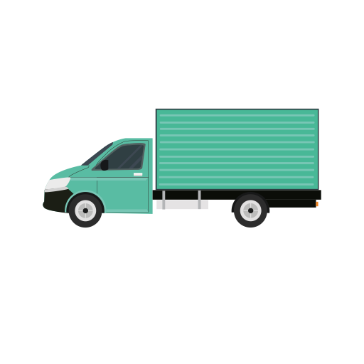 Vector van side view. Green standing icon png