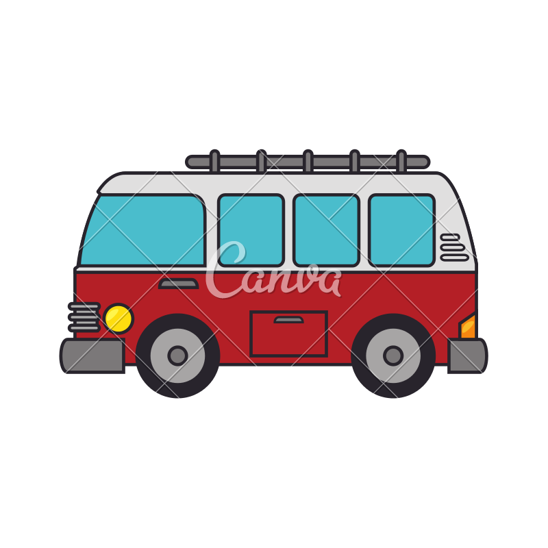Vector van vacation. Red camping travel icon