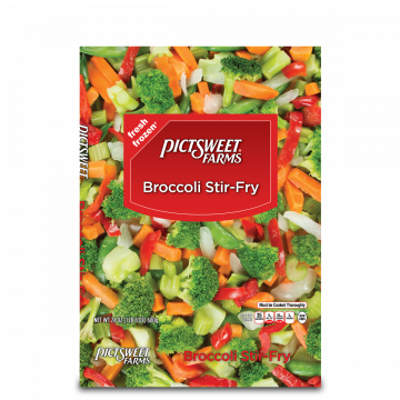 Vector vegetables bag. Clear pictsweet farms broccoli