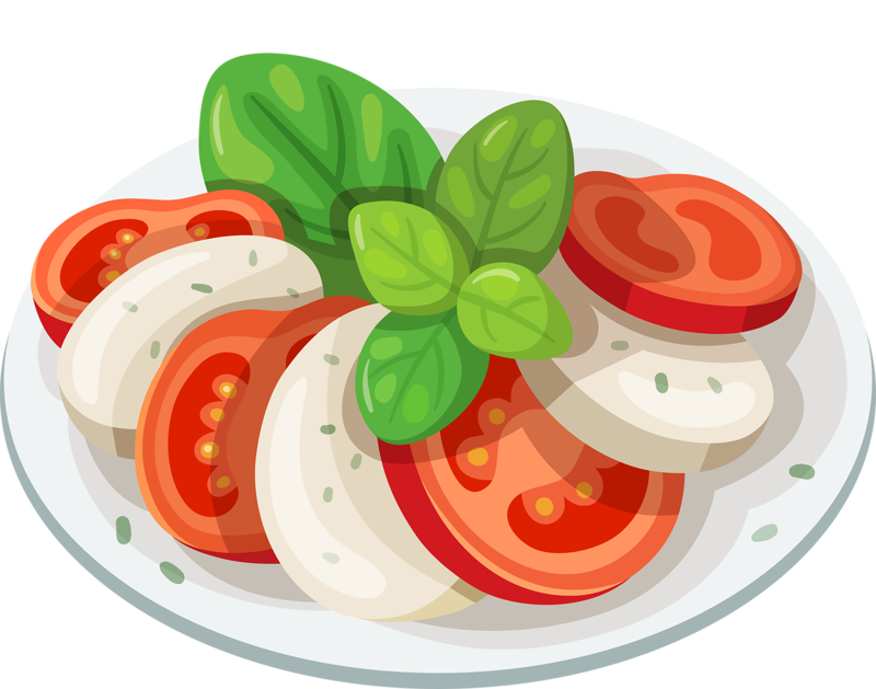 Vector vegetables sliced. Food fruits and sweets