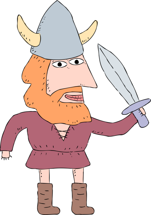 Vector viking illustration. Norse with helmet and