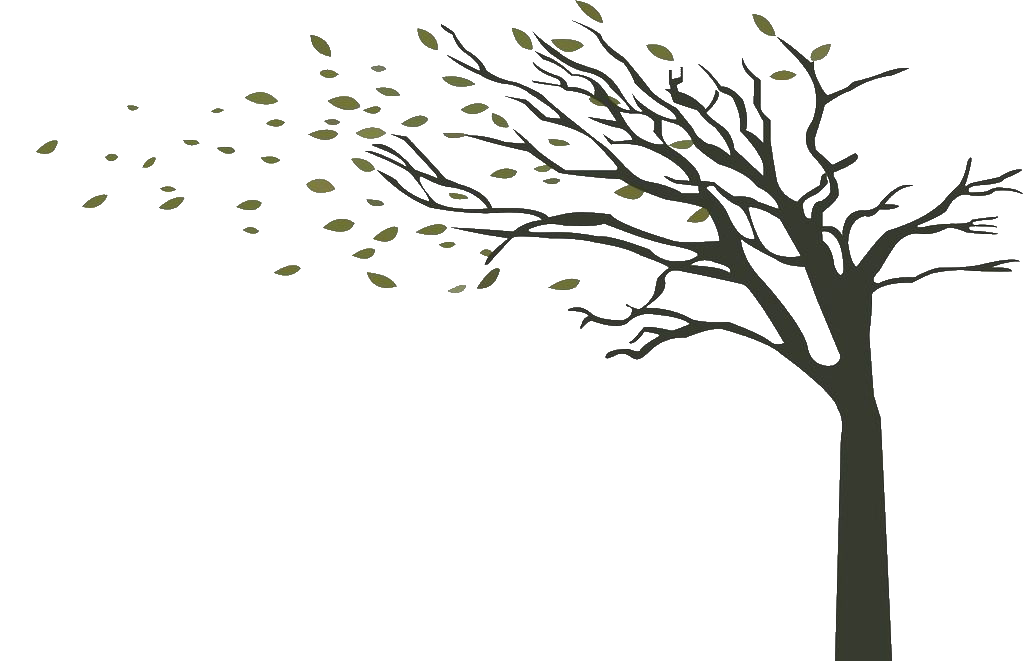 Vector wind tree. Branch drawing the little