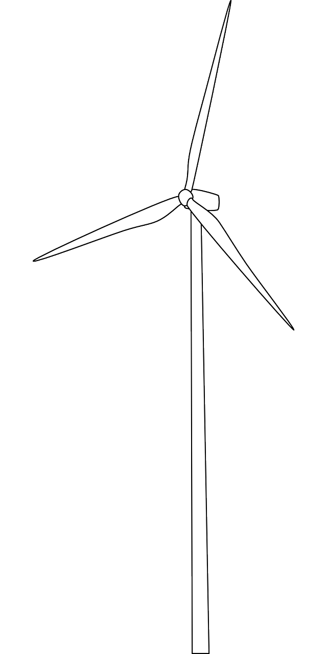 Vector windmill black and white. Wind turbine electricity energy