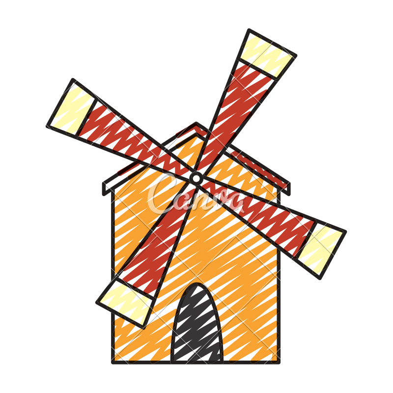 Doodle farm to play. Vector windmill barn vector royalty free library