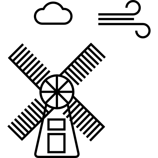 Vector windmill old. Wind and cloud icons