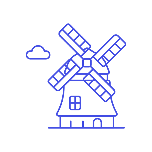 Vector windmill netherlands. Icon free of stream