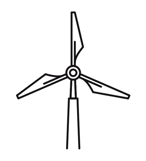 Vector windmill outline. Icons by canva