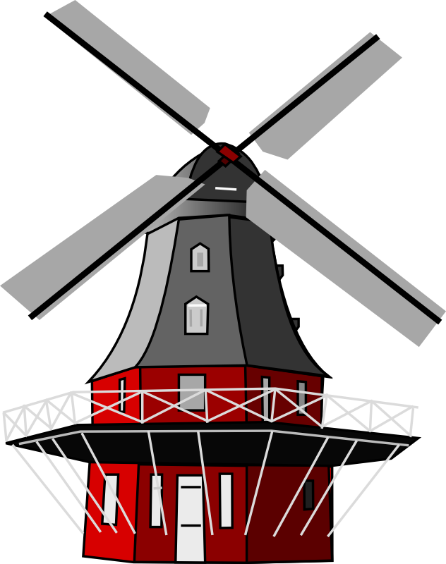 Vector windmill old. Japanese map symbol clip