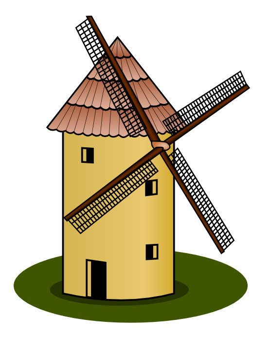 Vector windmill vintage. Clipart group with items