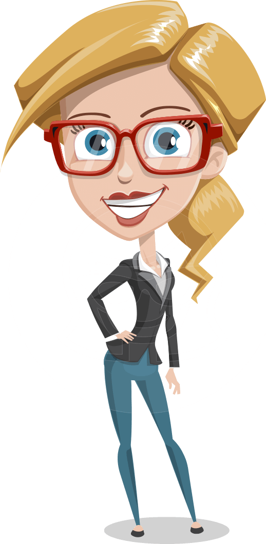 Vector women cartoon. Woman character pam the