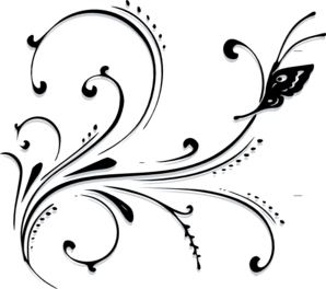 Vector working scroll. Butterfly clip art at