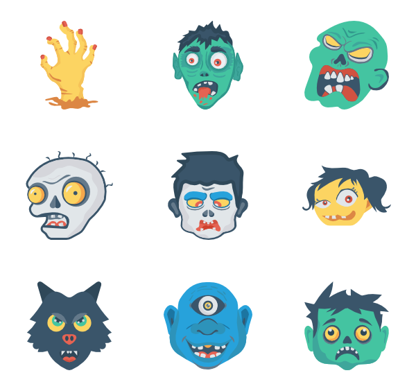 Vector zombie detailed. Icons free
