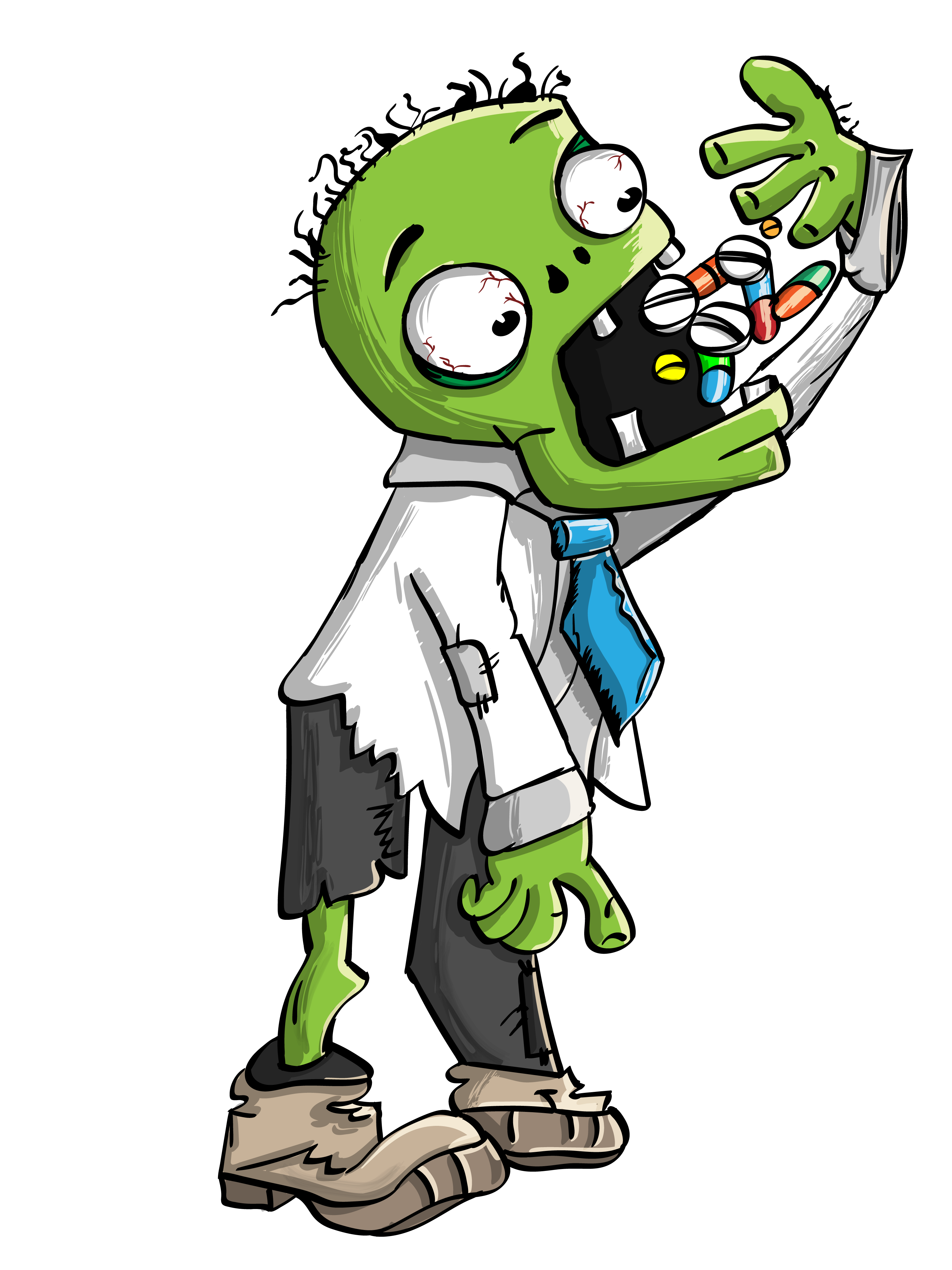 Vector skateboard animated. Zombie eating pills free