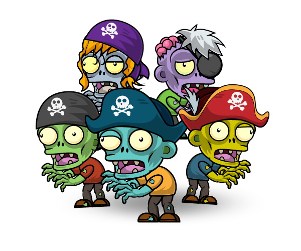 Vector zombie character. Egyptian zombies set pirate
